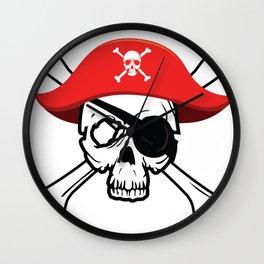Pirate Skull and Crossbones Jolly Roger  design Wall Clock