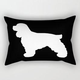 Cocker Spaniel black and white minimal modern pet art dog silhouette dog breeds square Rectangular Pillow