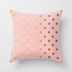 Gold polka dots on rosegold backround - Luxury pink pattern Throw Pillow