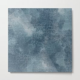 Abstract Grunge Art in Slate Blue and Gray Metal Print