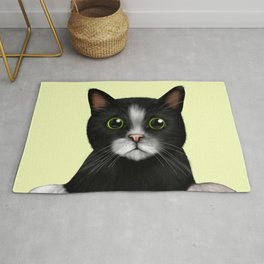 Curious Black and White Cat - Light Rug