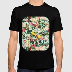 Floral and Birds III MEDIUM Black Mens Fitted Tee