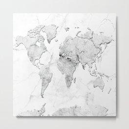 world map marble Metal Print