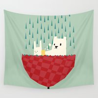 umbrella Wall Tapestries featuring umbrella bath time! by Yetiland