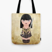 xena Tote Bags featuring Kokeshi Xena, warrior princess by Pendientera