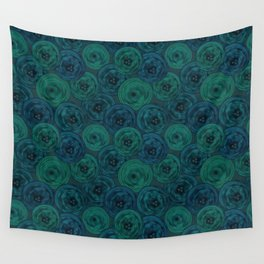 Blue and green anemones Wall Tapestry