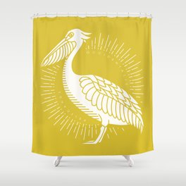 Golden Brown Pelican Shower Curtain