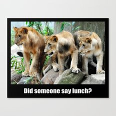 Lunch Time for Lion Cubs Poster Canvas Print