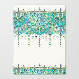 Art Deco Double Drop in Jade and Aquamarine on Cream Canvas Print
