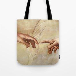 "Michelangelo ""Creation of Adam""(detail) Tote Bag"
