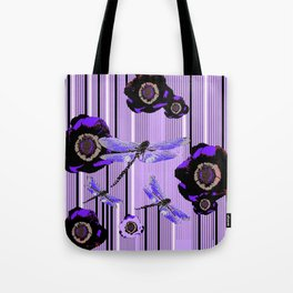 PURPLE DRAGONFLIES & BLACK POPPY FLOWERS ART Tote Bag