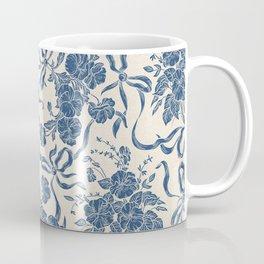 Chic Modern Vintage Ivory Navy Blue Floral Pattern Coffee Mug