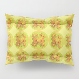 Quilted Style Lime Green Art Yellow Daffodils  Pattern Pillow Sham