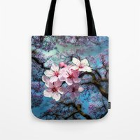 cherry blossoms Tote Bags featuring Cherry Blossoms by Nadine May