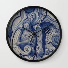 Heavenly Angelic Stone Harp Sculpture Print Wall Clock