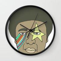 the dude Wall Clocks featuring dude by Chad spann