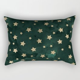 Modern gold christmas stars geometric pattern green watercolor Rectangular Pillow