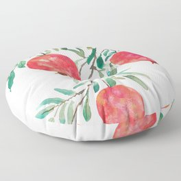 red pomegranate watercolor Floor Pillow