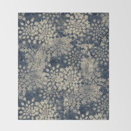 Dreamy Old Lace Flower and Navy Blue Denim Floral Throw Blanket