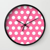 minnie mouse Wall Clocks featuring Minnie Mouse Dots | Pink by DisPrints