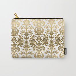 White & Gold Floral Damask Pattern Carry-All Pouch