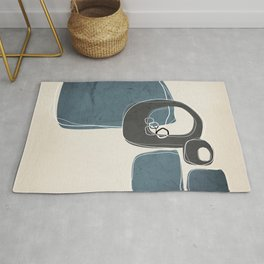 Retro Abstract Design in Charcoal Grey and Teal Rug