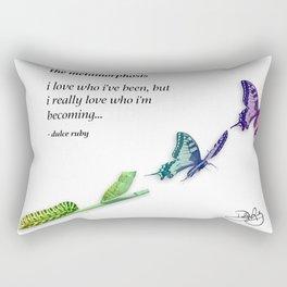 The Metamorphosis - Caterpillar becoming Butterfly Rectangular Pillow