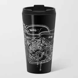 Black Norton Commando handmade white ink Travel Mug