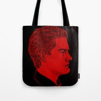 dale cooper Tote Bags featuring Agent Dale Cooper / Twin Peaks by Kat Schneider