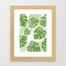 Linocut Monstera Leaf Pattern Framed Art Print