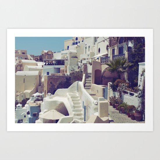 Streets of Santorini III Art Print