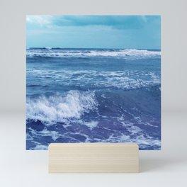 Blue Atlantic Ocean White Cap Waves Clouds in Sky Photograph Mini Art Print