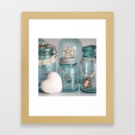 Vintage Mason Jars Shabby Chic Cottage Jeweled Decor Framed Art Print
