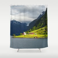 norway Shower Curtains featuring Somewhere in Norway  by Ellyne