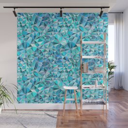 Icy Blue Crystalline Abstract Geometric structures Wall Mural