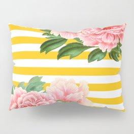 Pink Peonies Yellow Stripes Pillow Sham