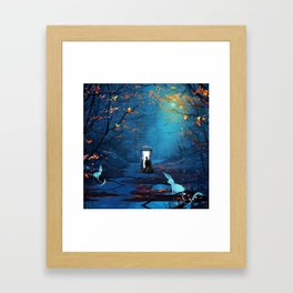 Tardis And The Doctor Lost In The Forest Framed Art Print