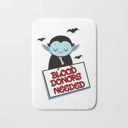 Blood Donors Needed Halloween Dracula Volunteer Light Bath Mat