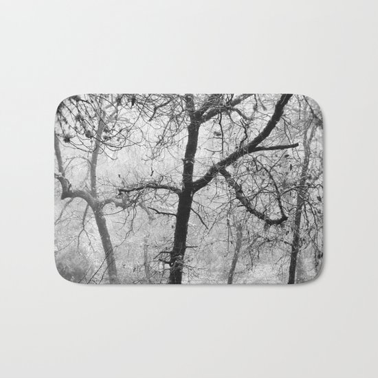 """""""Into the woods III"""". Foggy forest Bath Mat"""