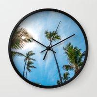 palm Wall Clocks featuring PALM by Ines Menacho