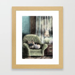 cat and pup together Framed Art Print