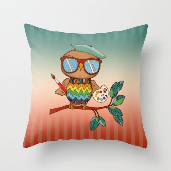 Little Wise Artist Throw Pillow