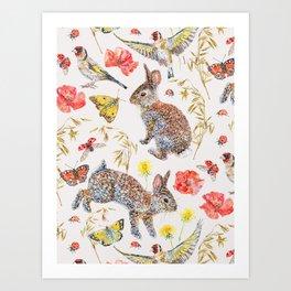 Bunny Meadow Pattern Art Print