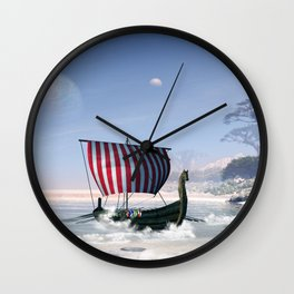 Wonderful longboat, vikking ship Wall Clock