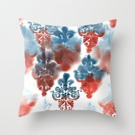 Damask: Red and Blue, Deteriorated Throw Pillow