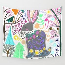 Folk Art Rabbit (white background) Wall Tapestry