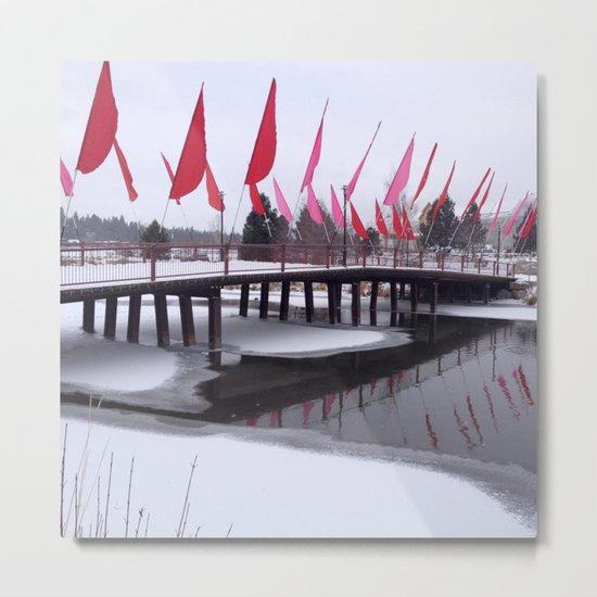 Snow Covered Foot Bridge Metal Print