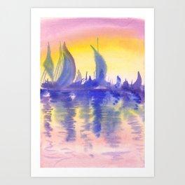 Sunset on marina Art Print