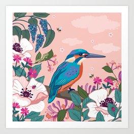 Kingfisher, White Poppies and Buddleia Art Print