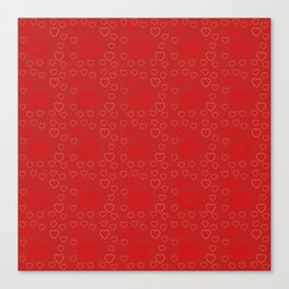 Bright ruby red fancy abstract love style pattern with fine golden hearts and bubbles Canvas Print